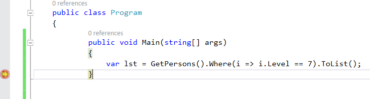 Debugging code using LINQ and Lambda Expressions in VS 2015